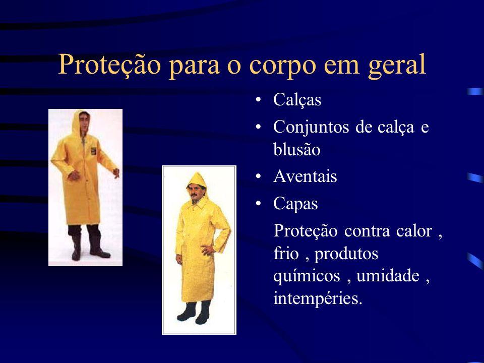 Proteção para o corpo em geral Calças Conjuntos de calça e blusão Aventais Capas Proteção contra calor, frio, produtos químicos, umidade, intempéries.