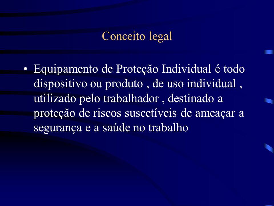 Conceito legal Equipamento de Proteção Individual é todo dispositivo ou produto, de uso individual, utilizado pelo trabalhador, destinado a proteção de riscos suscetíveis de ameaçar a segurança e a saúde no trabalho