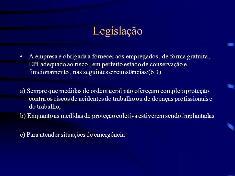 Legislação A empresa é obrigada a fornecer aos empregados, de forma gratuita, EPI adequado ao risco, em perfeito estado de conservação e funcionamento