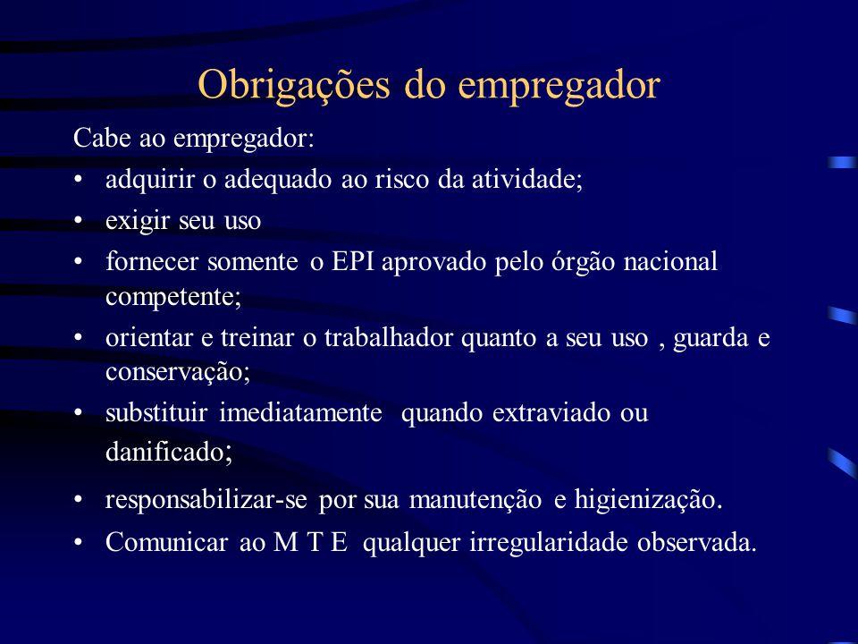 Obrigações do empregador Cabe ao empregador: adquirir o adequado ao risco da atividade; exigir seu uso fornecer somente o EPI aprovado pelo órgão naci