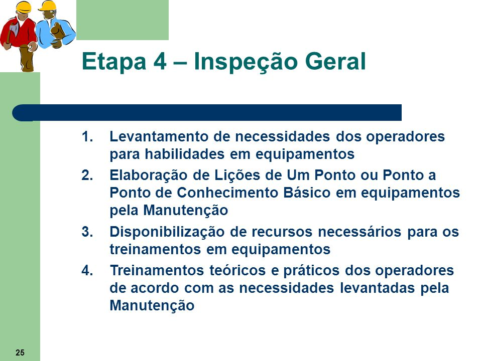25 Etapa 4 – Inspeção Geral 1.Levantamento de necessidades dos operadores para habilidades em equipamentos 2.Elaboração de Lições de Um Ponto ou Ponto