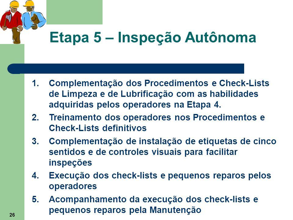26 Etapa 5 – Inspeção Autônoma 1.Complementação dos Procedimentos e Check-Lists de Limpeza e de Lubrificação com as habilidades adquiridas pelos opera