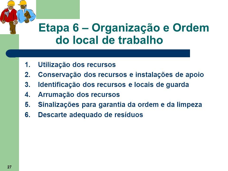 27 Etapa 6 – Organização e Ordem do local de trabalho 1.Utilização dos recursos 2.Conservação dos recursos e instalações de apoio 3.Identificação dos