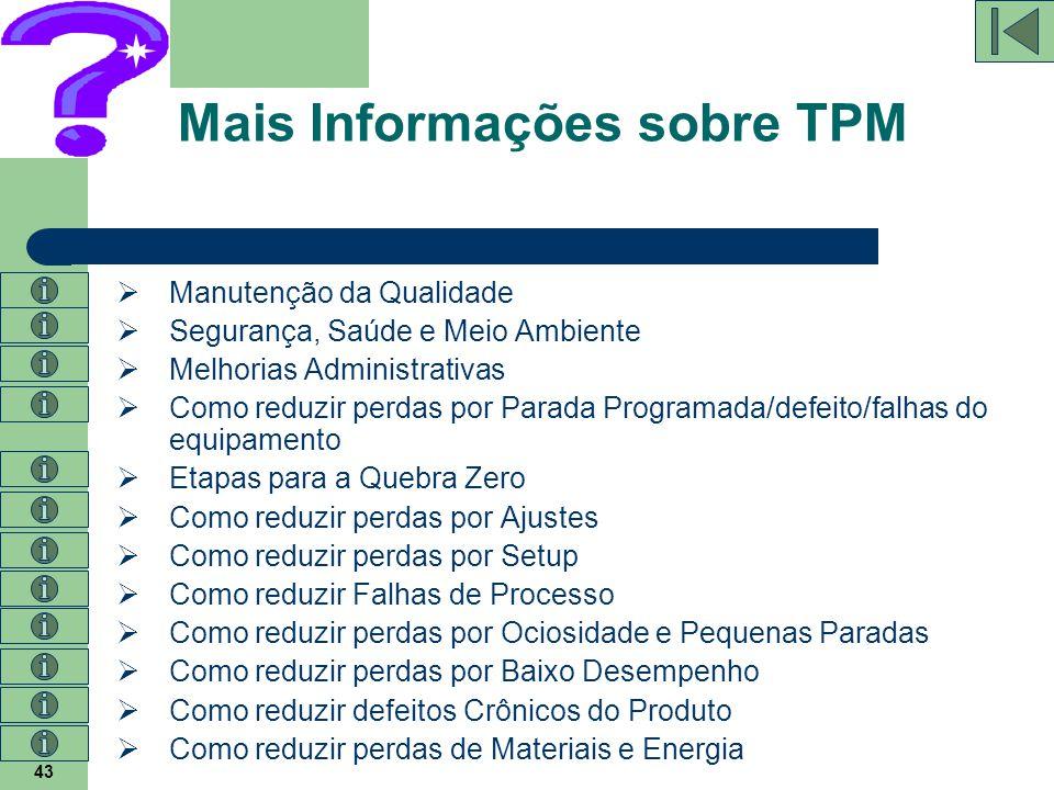 43 Mais Informações sobre TPM  Manutenção da Qualidade  Segurança, Saúde e Meio Ambiente  Melhorias Administrativas  Como reduzir perdas por Parad