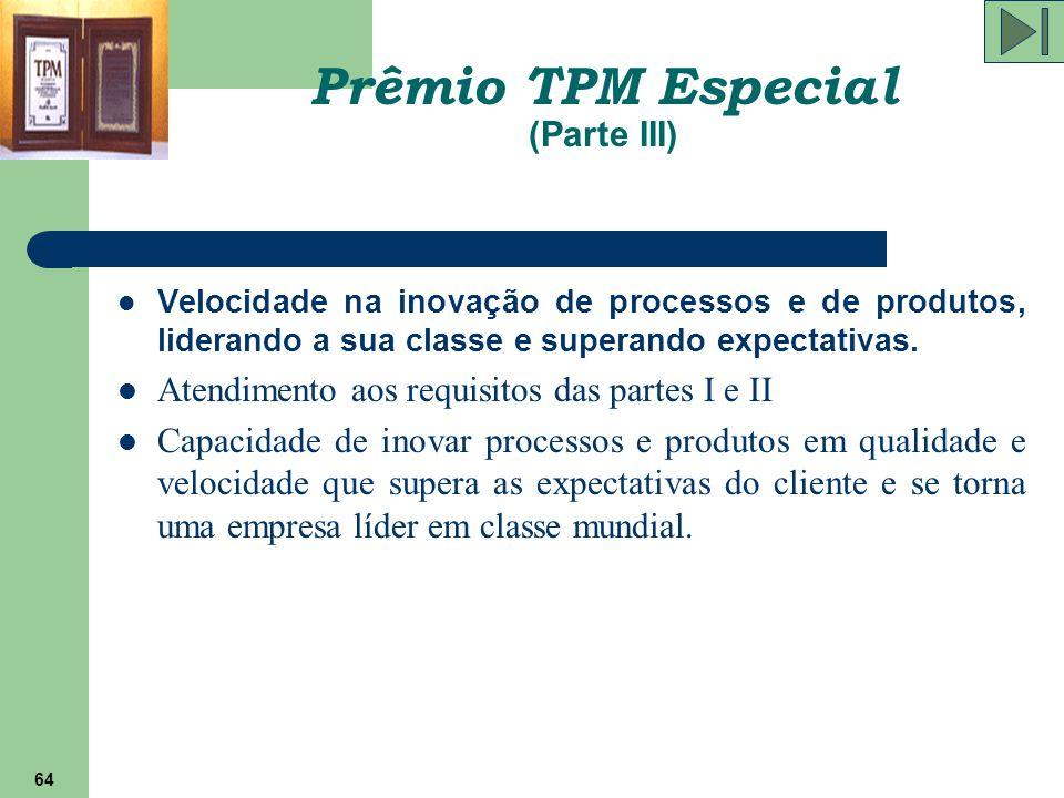 64 Prêmio TPM Especial (Parte III) Velocidade na inovação de processos e de produtos, liderando a sua classe e superando expectativas. Atendimento aos