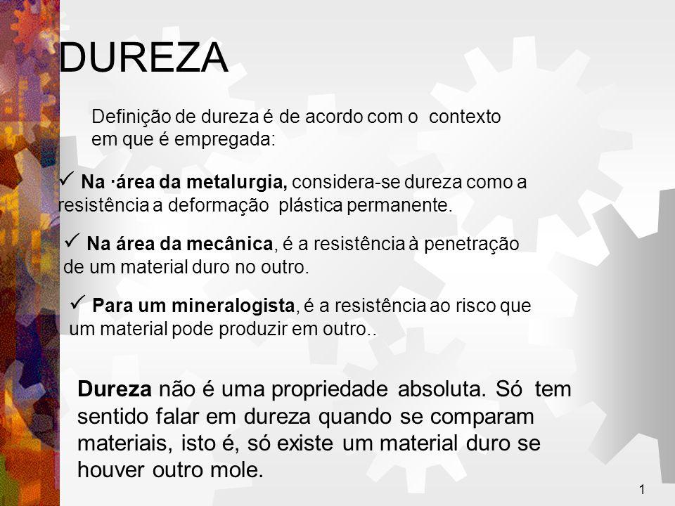 1 DUREZA Definição de dureza é de acordo com o contexto em que é empregada:  Na ·área da metalurgia, considera-se dureza como a resistência a deforma