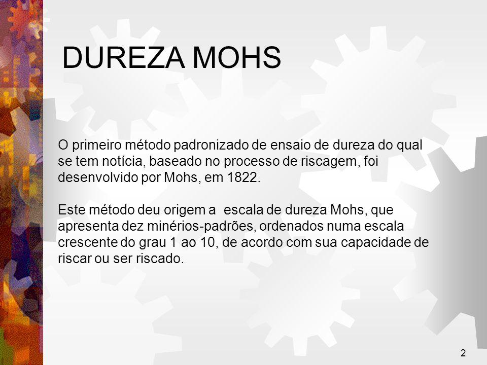 3 DUREZA MOHS Escala Mohs (1822) 1 - Talco 2 – Gipsita (Gêsso) 3 - Calcita 4 - Fluorita 5 - Apatita 6 - Feldspato (Ortoclásio) 7 - Quartzo 8 - Topázio 9 - Safira e corindom 10 - Diamante Esta escala não é conveniente para os metais, porque a maioria deles apresenta durezas Mohs 4 e 8, e pequenas diferenças de dureza não são acusadas por este método.