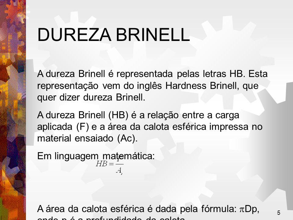5 DUREZA BRINELL A dureza Brinell é representada pelas letras HB. Esta representação vem do inglês Hardness Brinell, que quer dizer dureza Brinell. A