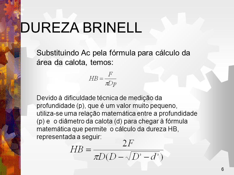 7 DUREZA BRINELL A unidade kgf/mm 2, que deveria ser sempre colocada apôs o valor de HB, é omitida, uma vez que a dureza Brinell não é um conceito físico satisfatório, pois a força aplicada no material tem valores diferentes em cada ponto da calota.