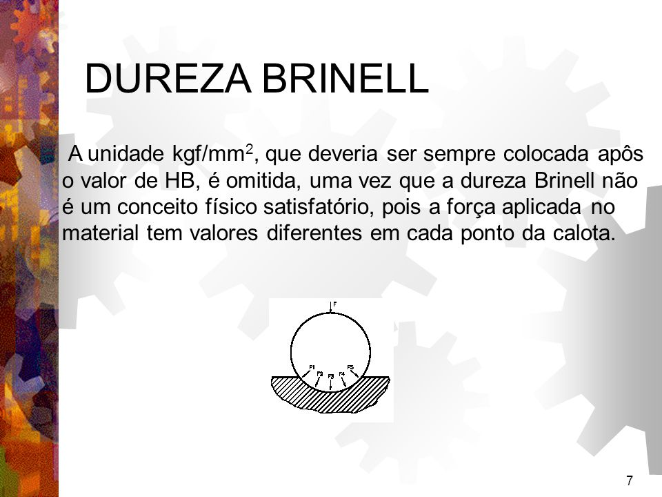 7 DUREZA BRINELL A unidade kgf/mm 2, que deveria ser sempre colocada apôs o valor de HB, é omitida, uma vez que a dureza Brinell não é um conceito fís
