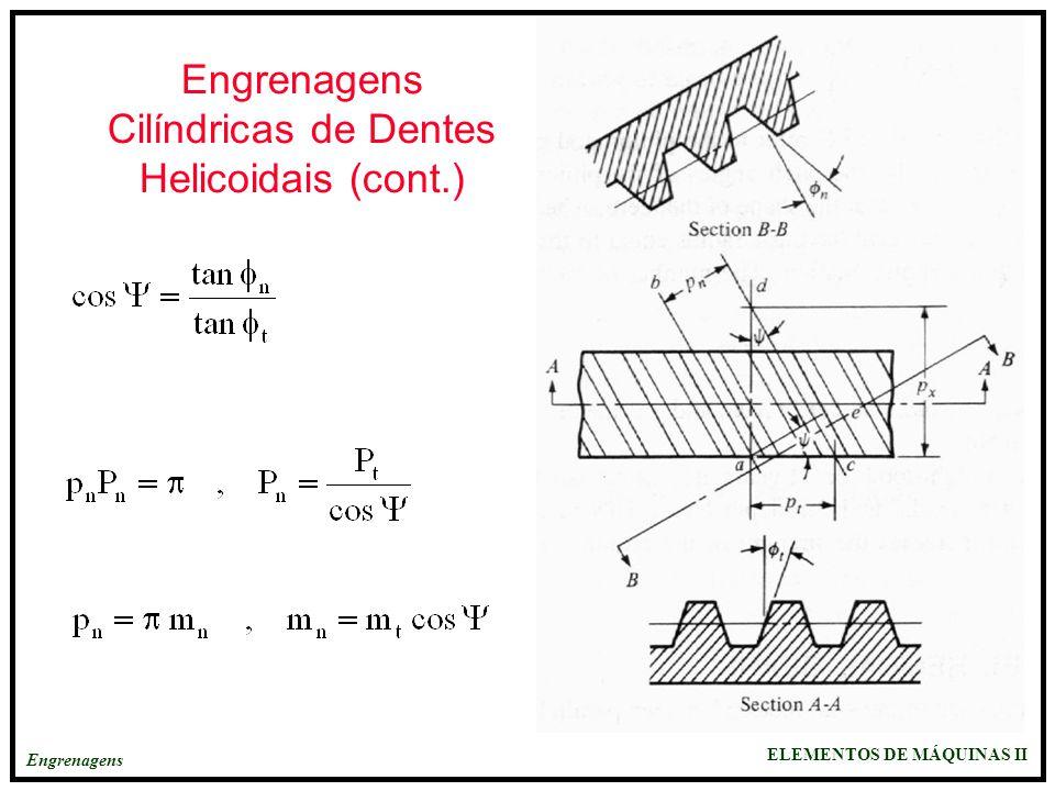 ELEMENTOS DE MÁQUINAS II Engrenagens Engrenagens Cilíndricas de Dentes Helicoidais (cont.)