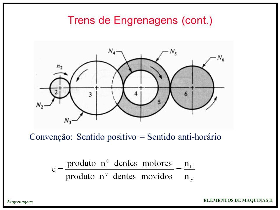 ELEMENTOS DE MÁQUINAS II Engrenagens Trens de Engrenagens (cont.) Convenção: Sentido positivo = Sentido anti-horário