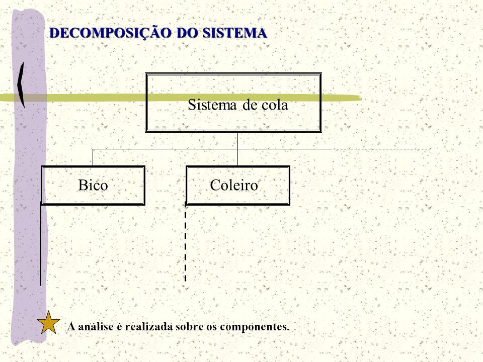 DECOMPOSIÇÃO DO SISTEMA Sistema de cola A análise é realizada sobre os componentes. BicoColeiro