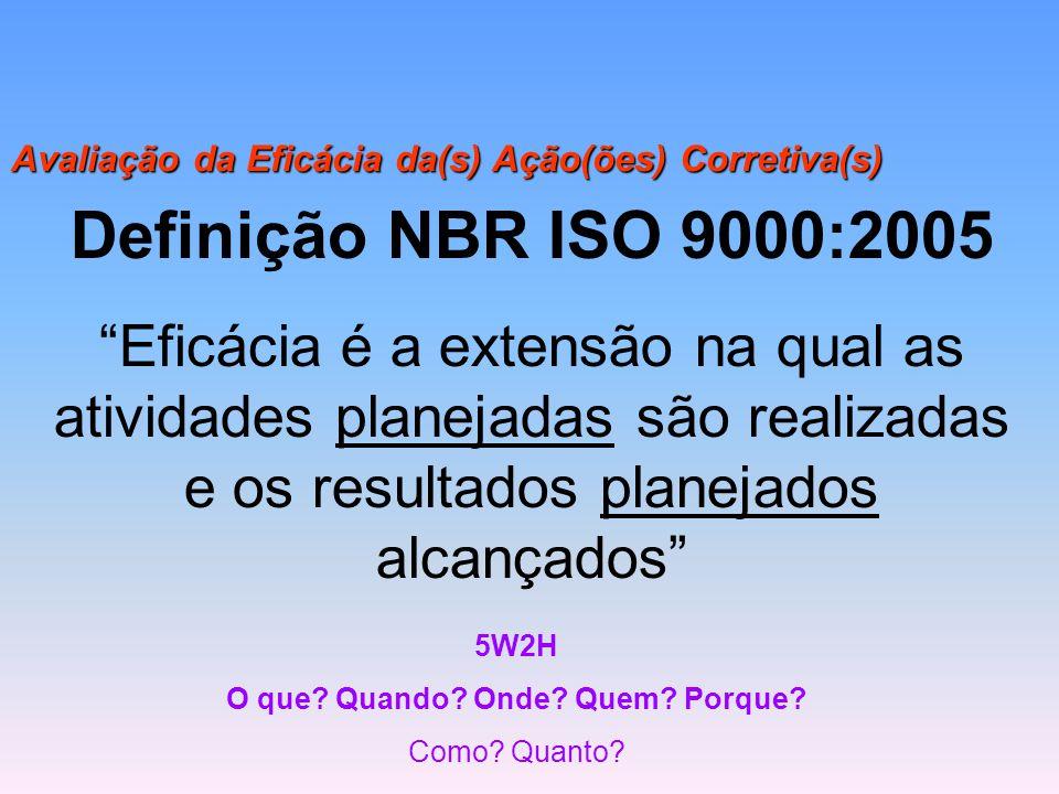 """Avaliação da Eficácia da(s) Ação(ões) Corretiva(s) 5W2H O que? Quando? Onde? Quem? Porque? Como? Quanto? Definição NBR ISO 9000:2005 """"Eficácia é a ext"""