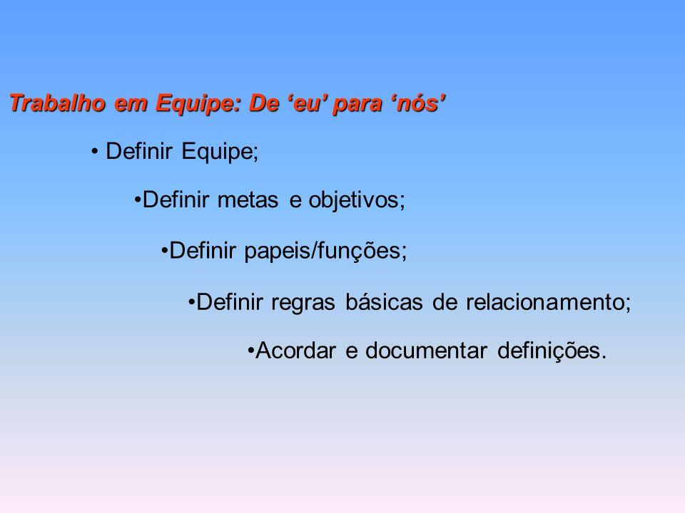 Trabalho em Equipe: De 'eu' para 'nós' Acordar e documentar definições. Definir Equipe; Definir metas e objetivos; Definir papeis/funções; Definir reg