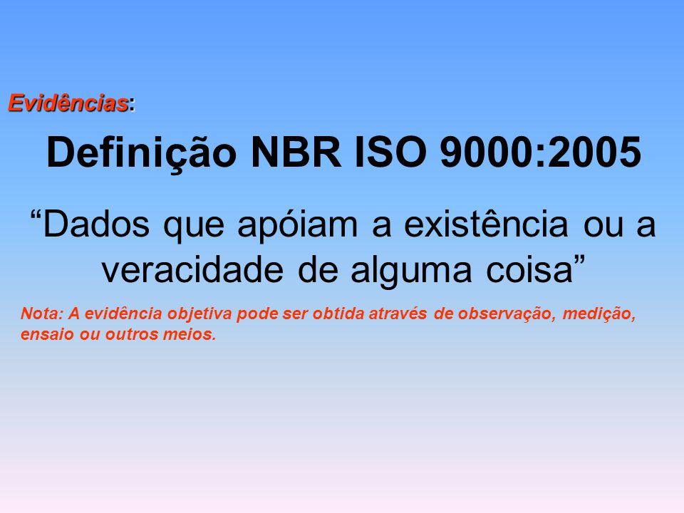 """Evidências: Definição NBR ISO 9000:2005 """"Dados que apóiam a existência ou a veracidade de alguma coisa"""" Nota: A evidência objetiva pode ser obtida atr"""