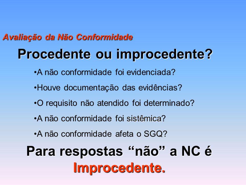 Avaliação da Não Conformidade Procedente ou improcedente? A não conformidade foi evidenciada? Houve documentação das evidências? O requisito não atend