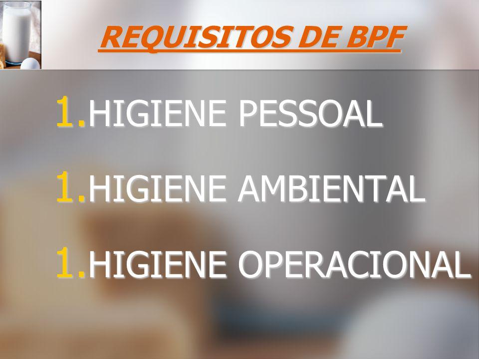 REQUISITOS DE BPF 1. HIGIENE PESSOAL 1. HIGIENE AMBIENTAL 1. HIGIENE OPERACIONAL