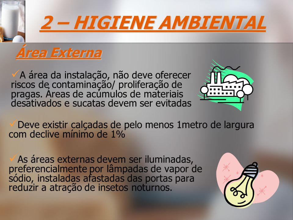 As áreas externas devem ser iluminadas, preferencialmente por lâmpadas de vapor de sódio, instaladas afastadas das portas para reduzir a atração de insetos noturnos.