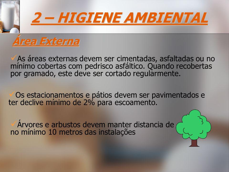 2 – HIGIENE AMBIENTAL Área Externa As áreas externas devem ser cimentadas, asfaltadas ou no mínimo cobertas com pedrisco asfáltico.