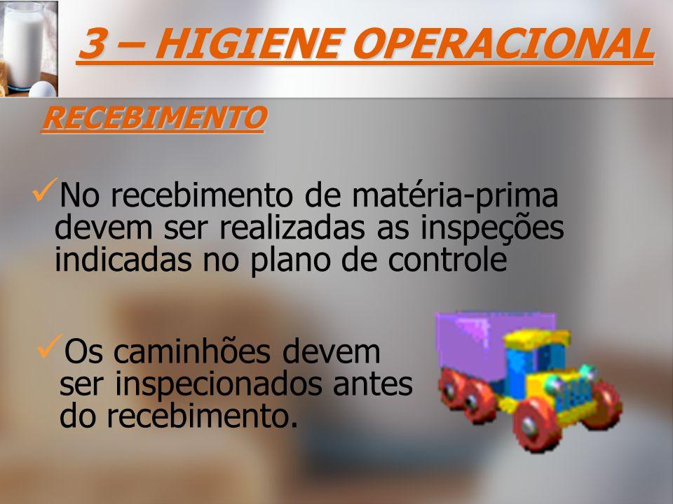 No recebimento de matéria-prima devem ser realizadas as inspeções indicadas no plano de controle 3 – HIGIENE OPERACIONAL RECEBIMENTO Os caminhões devem ser inspecionados antes do recebimento.