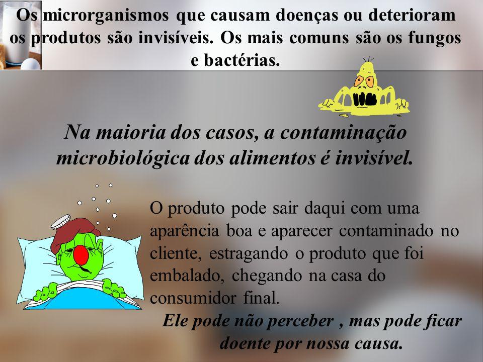 Os microrganismos que causam doenças ou deterioram os produtos são invisíveis.