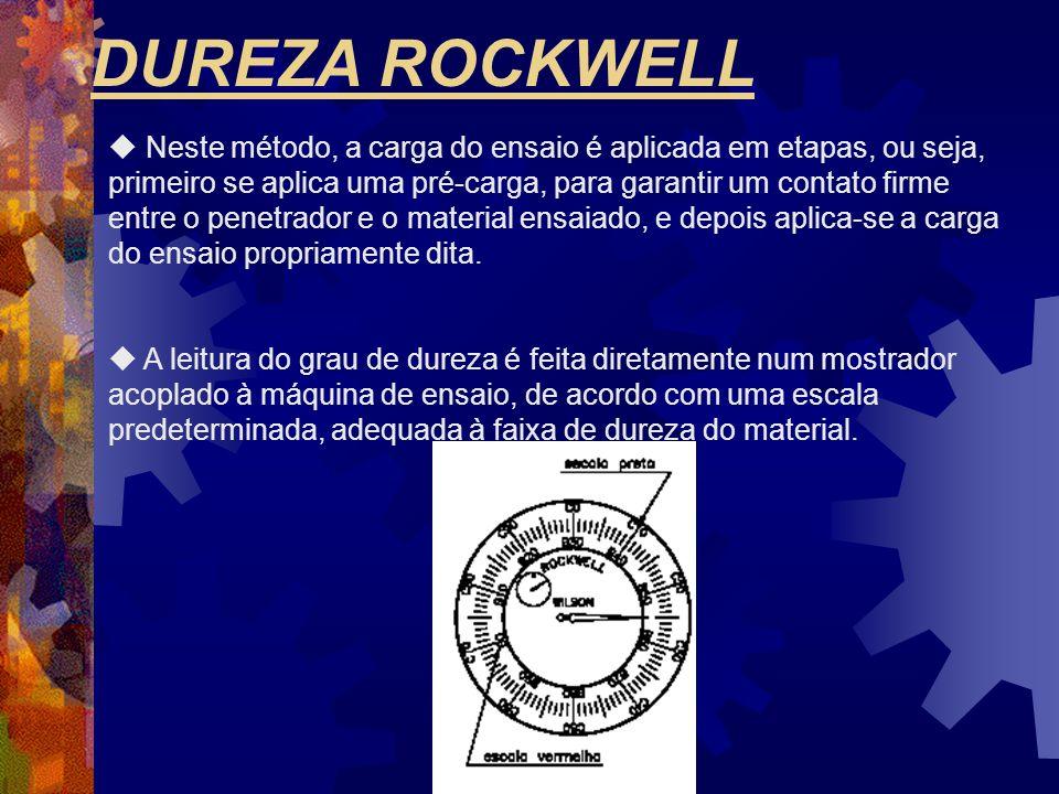 DUREZA ROCKWELL  Neste método, a carga do ensaio é aplicada em etapas, ou seja, primeiro se aplica uma pré-carga, para garantir um contato firme entr