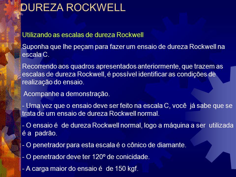Utilizando as escalas de dureza Rockwell Suponha que lhe peçam para fazer um ensaio de dureza Rockwell na escala C. Recorrendo aos quadros apresentado