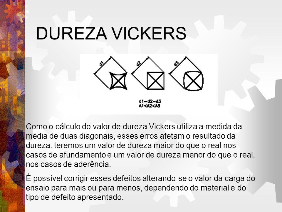 DUREZA VICKERS Como o cálculo do valor de dureza Vickers utiliza a medida da média de duas diagonais, esses erros afetam o resultado da dureza: teremo