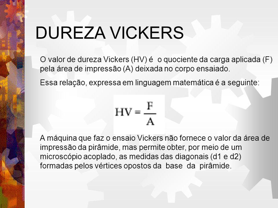 DUREZA VICKERS O valor de dureza Vickers (HV) é o quociente da carga aplicada (F) pela área de impressão (A) deixada no corpo ensaiado. Essa relação,