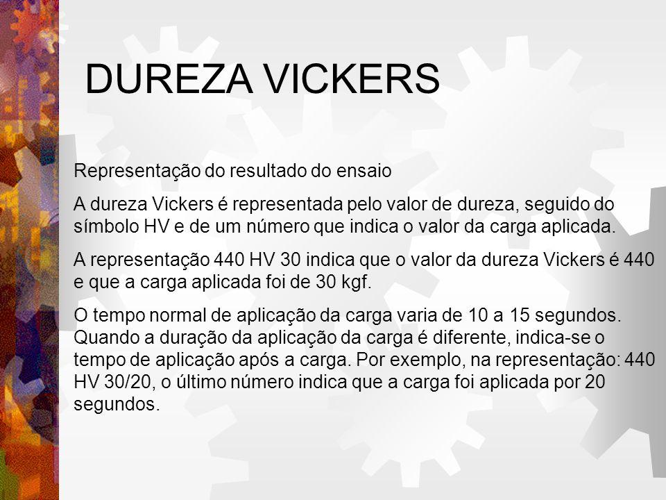 DUREZA VICKERS Representação do resultado do ensaio A dureza Vickers é representada pelo valor de dureza, seguido do símbolo HV e de um número que indica o valor da carga aplicada.