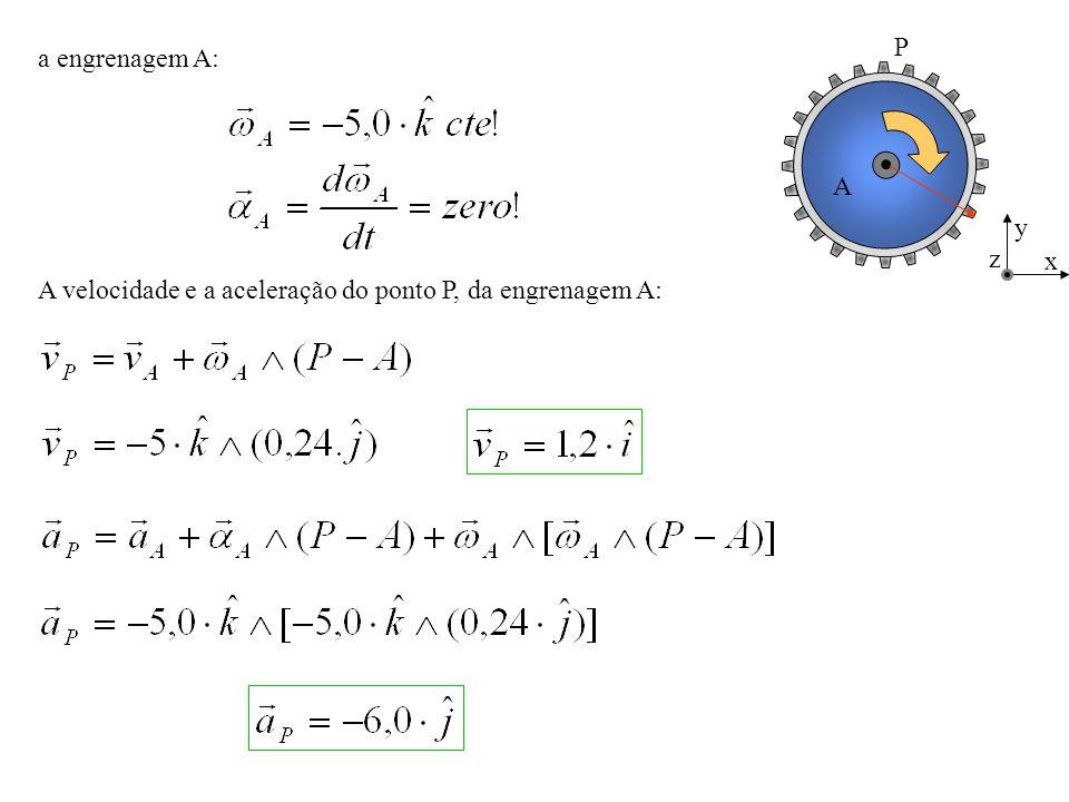 C B 0,20m A x y z a engrenagem B: A velocidade e a aceleração do ponto P, da engrenagem B: