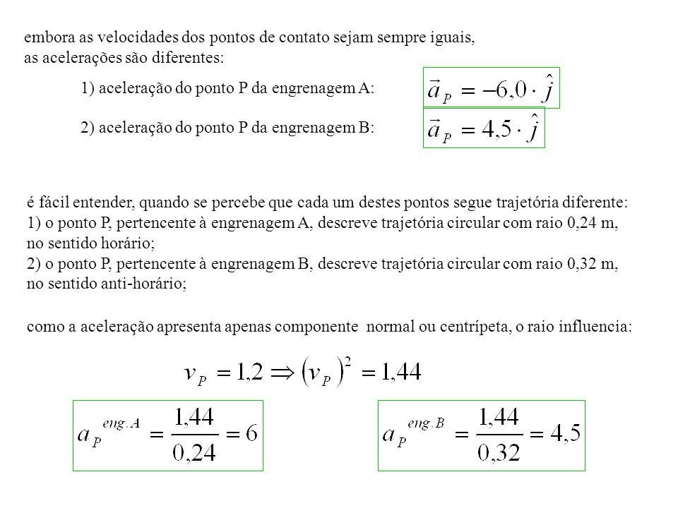 embora as velocidades dos pontos de contato sejam sempre iguais, as acelerações são diferentes: 1) aceleração do ponto P da engrenagem A: 2) aceleração do ponto P da engrenagem B: é fácil entender, quando se percebe que cada um destes pontos segue trajetória diferente: 1) o ponto P, pertencente à engrenagem A, descreve trajetória circular com raio 0,24 m, no sentido horário; 2) o ponto P, pertencente à engrenagem B, descreve trajetória circular com raio 0,32 m, no sentido anti-horário; como a aceleração apresenta apenas componente normal ou centrípeta, o raio influencia: