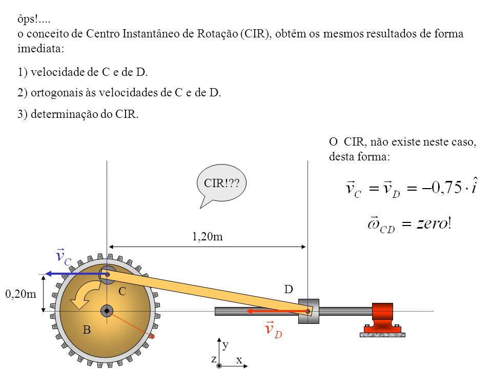 D C B 0,20m 1,20m x y z ôps!.... o conceito de Centro Instantâneo de Rotação (CIR), obtêm os mesmos resultados de forma imediata: 1) velocidade de C e