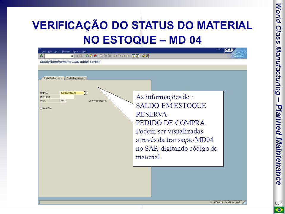 As informações de : SALDO EM ESTOQUE RESERVA PEDIDO DE COMPRA Podem ser visualizadas através da transação MD04 no SAP, digitando código do material. V