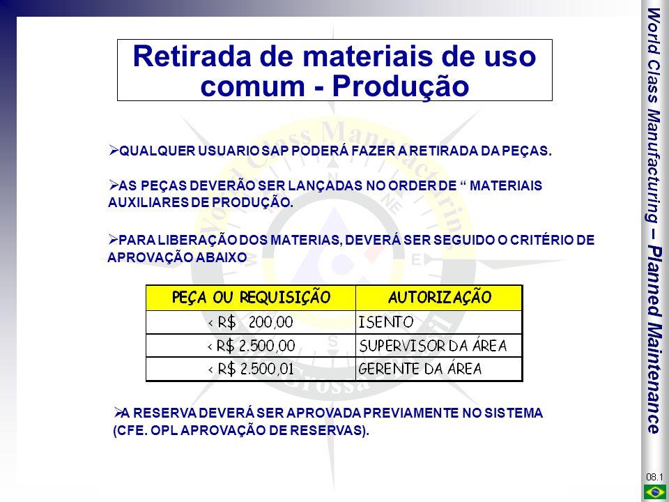 """Retirada de materiais de uso comum - Produção  QUALQUER USUARIO SAP PODERÁ FAZER A RETIRADA DA PEÇAS.  AS PEÇAS DEVERÃO SER LANÇADAS NO ORDER DE """" M"""