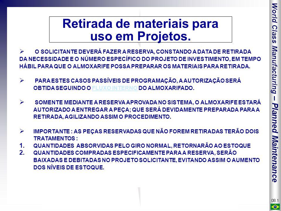 Retirada de materiais para uso em Projetos.  O SOLICITANTE DEVERÁ FAZER A RESERVA, CONSTANDO A DATA DE RETIRADA DA NECESSIDADE E O NÚMERO ESPECÍFICO