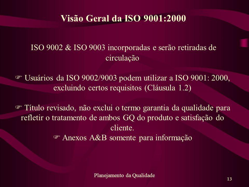13 Planejamento da Qualidade ISO 9002 & ISO 9003 incorporadas e serão retiradas de circulação F Usuários da ISO 9002/9003 podem utilizar a ISO 9001: 2