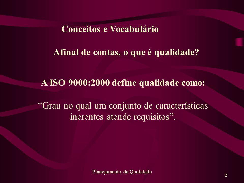 """2 Planejamento da Qualidade A ISO 9000:2000 define qualidade como: """"Grau no qual um conjunto de características inerentes atende requisitos"""". Afinal d"""