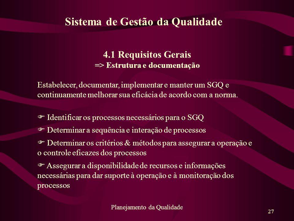 27 Planejamento da Qualidade 4.1 Requisitos Gerais => Estrutura e documentação Estabelecer, documentar, implementar e manter um SGQ e continuamente me