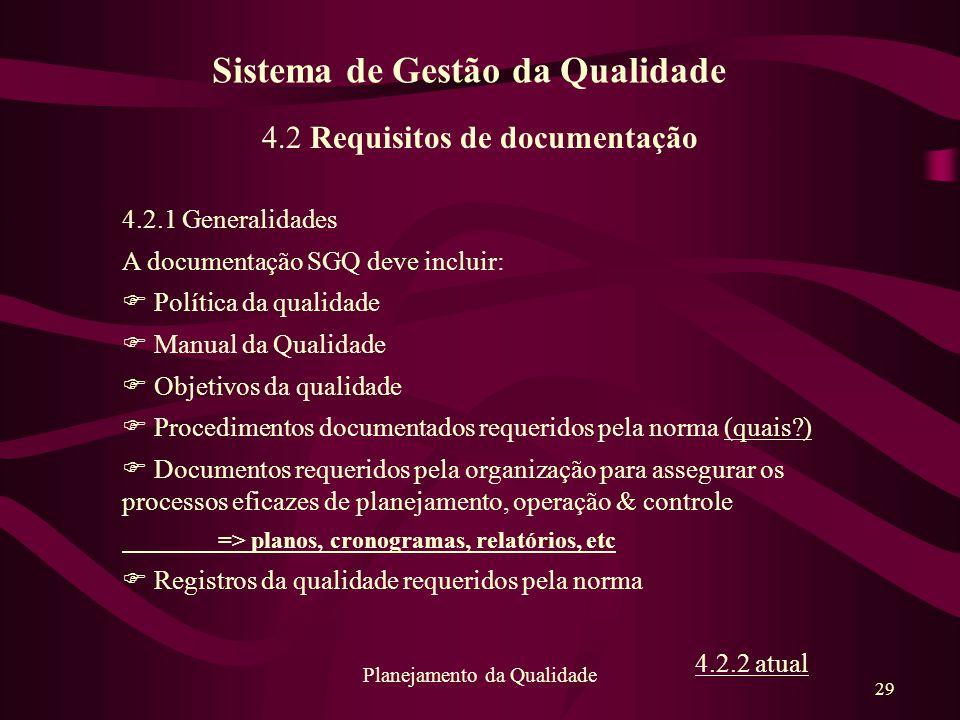 29 Planejamento da Qualidade 4.2 Requisitos de documentação 4.2.1 Generalidades A documentação SGQ deve incluir: F Política da qualidade F Manual da Q