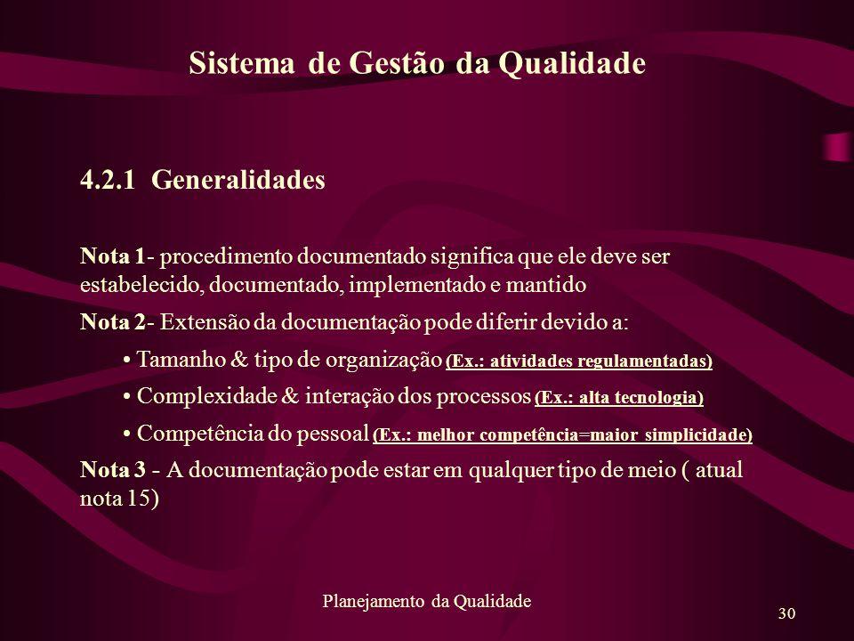 30 Planejamento da Qualidade 4.2.1 Generalidades Nota 1- procedimento documentado significa que ele deve ser estabelecido, documentado, implementado e
