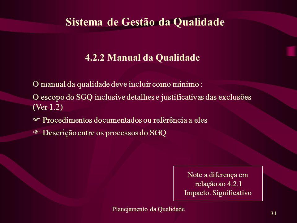31 Planejamento da Qualidade 4.2.2 Manual da Qualidade O manual da qualidade deve incluir como mínimo : O escopo do SGQ inclusive detalhes e justifica