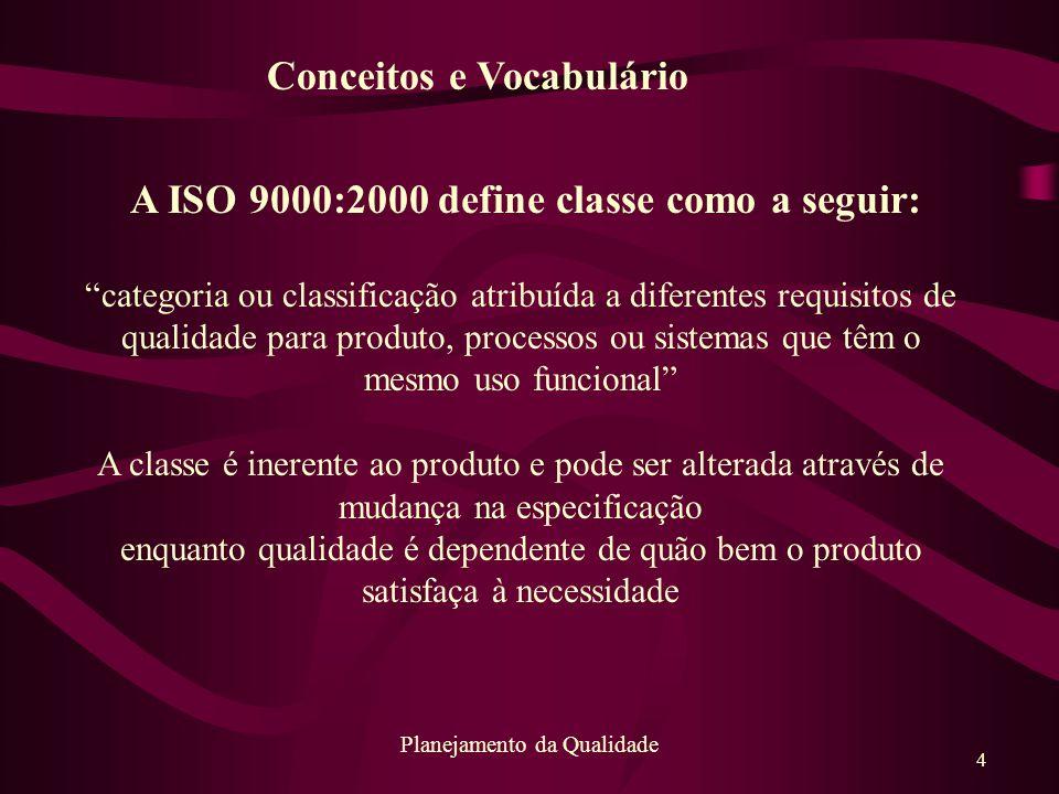 """4 Planejamento da Qualidade A ISO 9000:2000 define classe como a seguir: """"categoria ou classificação atribuída a diferentes requisitos de qualidade pa"""