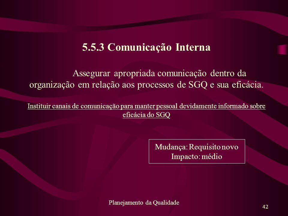 42 Planejamento da Qualidade 5.5.3 Comunicação Interna Assegurar apropriada comunicação dentro da organização em relação aos processos de SGQ e sua ef