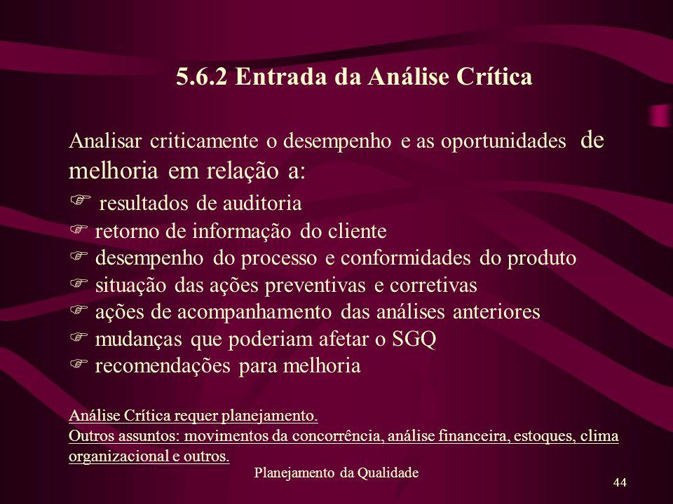 44 Planejamento da Qualidade 5.6.2 Entrada da Análise Crítica Analisar criticamente o desempenho e as oportunidades de melhoria em relação a: F result