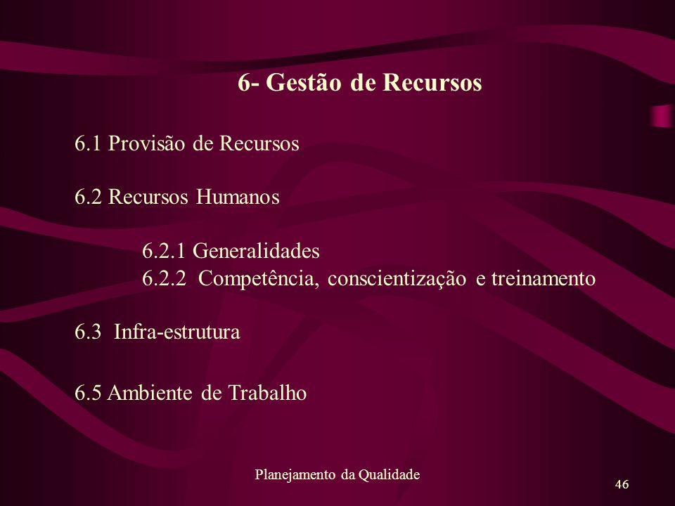 46 Planejamento da Qualidade 6- Gestão de Recursos 6.1 Provisão de Recursos 6.2 Recursos Humanos 6.2.1 Generalidades 6.2.2 Competência, conscientizaçã