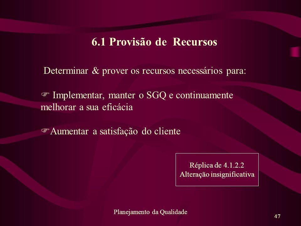 47 Planejamento da Qualidade 6.1 Provisão de Recursos Determinar & prover os recursos necessários para: F Implementar, manter o SGQ e continuamente me