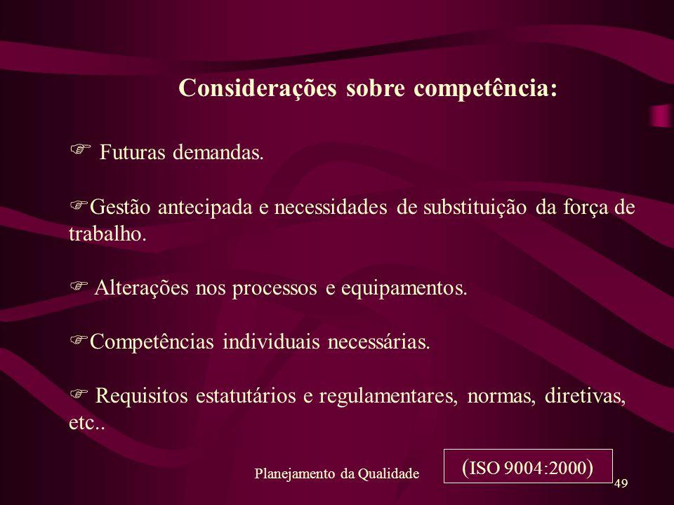 49 Planejamento da Qualidade Considerações sobre competência: F Futuras demandas. FGestão antecipada e necessidades de substituição da força de trabal