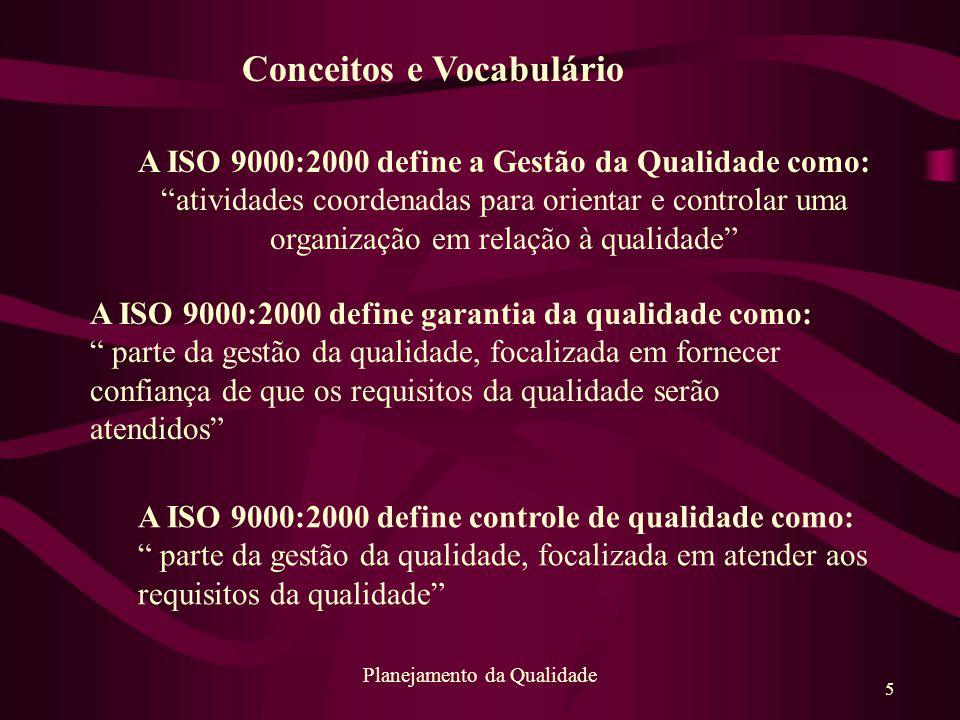 """5 Planejamento da Qualidade A ISO 9000:2000 define garantia da qualidade como: """" parte da gestão da qualidade, focalizada em fornecer confiança de que"""